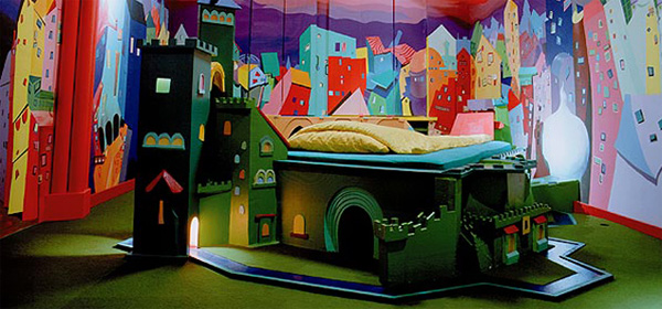 bed with mini golf course